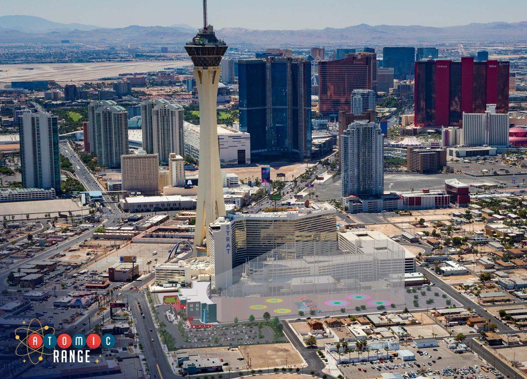 Atomic Range aerial view with Vegas Strip